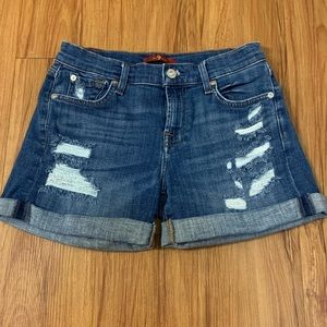 7 For All Mankind Cuffed Distressed Jean Shorts